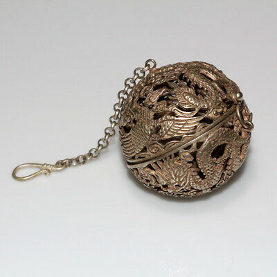 Intact-Unknown Silver Plated Globe Openwork Carved Pendant-Astronomy Object