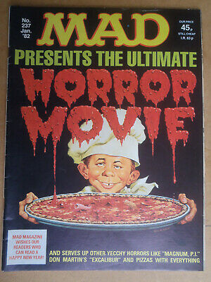 """Mad Magazine No 237.  UK edn.  Incl """"Mad's take on horror movies."""