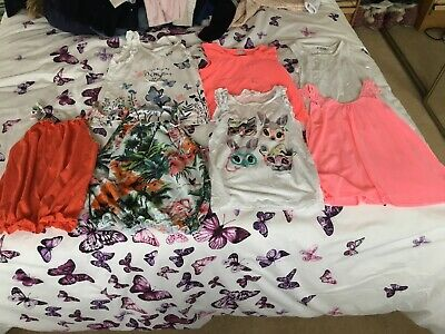 Girls Bundle Of 7 Summer Tops Age 7-8 From River Island, NEXT & H&M