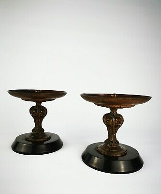 Antique Victorian 19th Century Pair Of French Bronze Dishes Tazzas