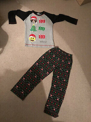 George Boys Girls Christmas Emoji Pjs Pyjamas 8-9Years