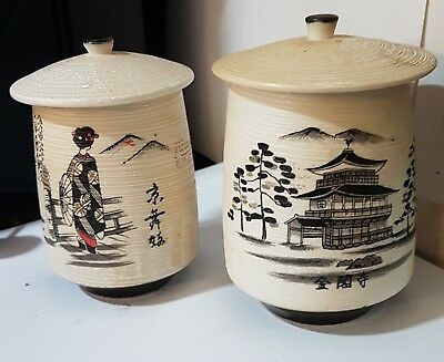 Meoto Yunomi Marriage Ceremonial Lidded Tea Cups 2 Rare Pair Of Signed Vintage