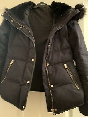Zara Navy Blue Puffer Jacket With Faux Fur Trim Size Small .