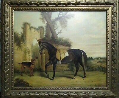 Framed Antique Oil on Canvas Painting Signed Cha Rossi?. Horse and Dog
