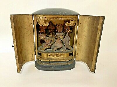 Antique Carved Japanese 7 Immortals / Gods Wooden Asian Travelling Shrine Statue