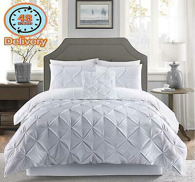 Fixtex Pinch Pleat Pintuck Duvet Cover Set With Fitted Sheet  Pillow Cases Incl