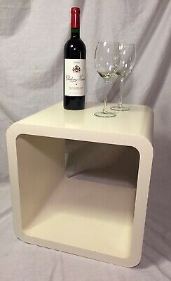Modernist Design Side Table Mid Century Curved Hollow Cube Bent Wood Off White