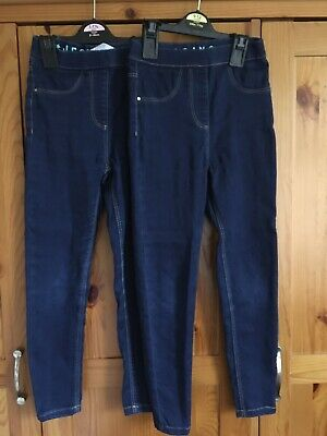 Girls Two Pairs Of Blue Skinny Jeans Jeggings Size 6-7yrs