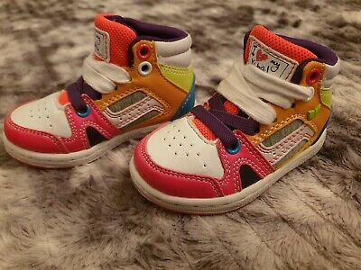 Next White Pink Blue Purple Green Girls High Top Trainers Boots Shoes Size 3