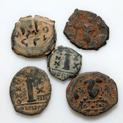 Nice Lot Of 5 Uncertain Byzantine Bronze Coins