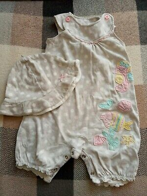 Baby girl grey white seaside theme cotton  playsuit outfit with hat 9-12 months