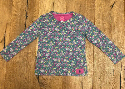 Joules Girls T-shirt Floral Green Pink Yellow Cotton Top Age 6 years