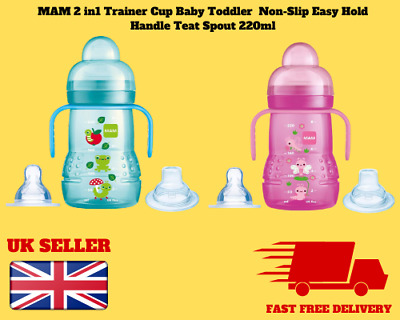 BLUE Infant Toddler Drinking Weaning BNIP MAM TRAINER CUP 2IN1