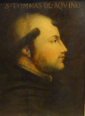 Large 16th Century Italian Old Master Saint Thomas Aquinas Portrait Antique