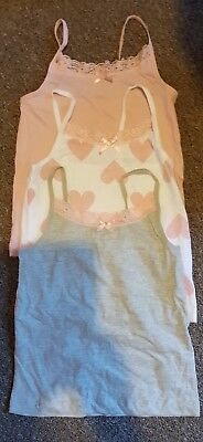 Bnwot 3 X Girls Cute Vests Age 6 Years Old Pink, Grey & White