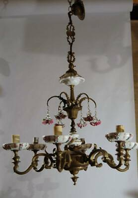 antique heavy gauge brass/bronze with porcelain flowers, wiring is good,