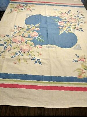 """Vintage TABLECLOTH PINK ROSES ON WHITE BLUE GREEN COTTON 50"""" SQUARE"""