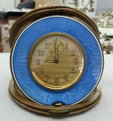 Antique Vintage Art Deco Guiolloche Enamel Leather Case 8 Day Travel Desk Clock
