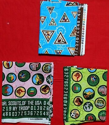 RARE ROBERT KAUFMAN BOY SCOUT OF AMERICA BSA FABRIC QUILTING COTTON EAGLE BTHY