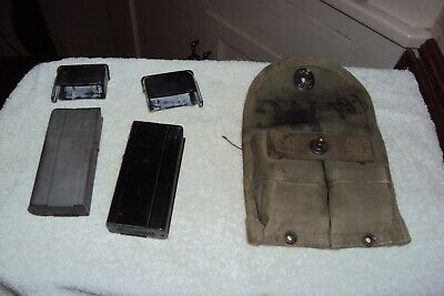 2 M1 Carbine Magazines With Pouch And Covers-10 Rd Blocked