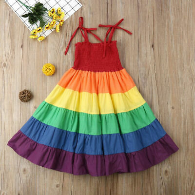 Summer Kids Baby Girls Clothes Princess Party Dress Rainbow Strap Sundress