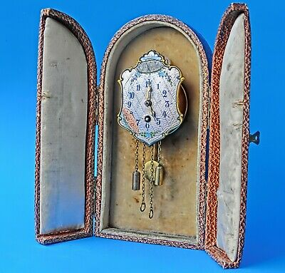 Miniature  GUILLOCHE Clock in matching Presentation Case - Germany