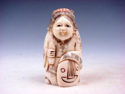 Japanese Detailed Hand Carved Netsuke Lady Musician Holding Instrument #11301901