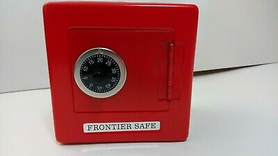 Frontier Safe Combination Lock Coin Piggy Bank Metal Tin Novelty Box RED VINTAGE