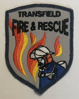 VINTAGE TRANSFIELD FIRE & RESCUE Cloth Patch Sew On Badge