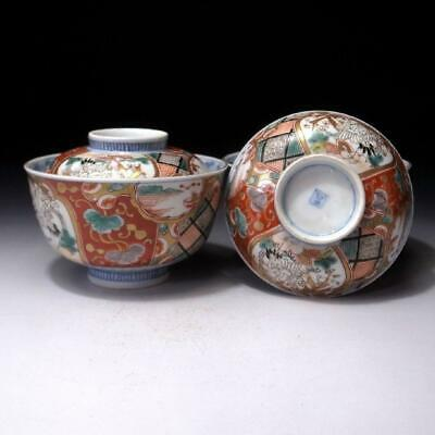 BG23: Antique Pair of Japanese Hand-painted Old Imari Covered Bowls, 19C