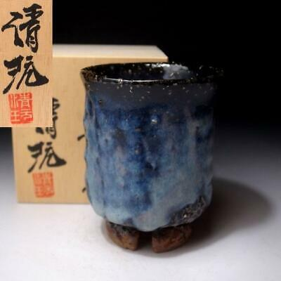 FJ28: Japanese Large Pottery tea cup, Hagi Ware by Famous Seigan Yamane, Blue
