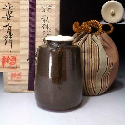 ZF16: Japanese Tea Caddy with high-class lid by 1st Class potter, Yusho Sasada