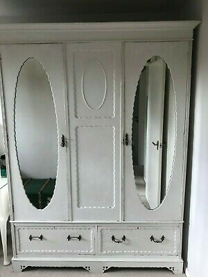 Early C20th Antique Triple Wardrobe with Drawers
