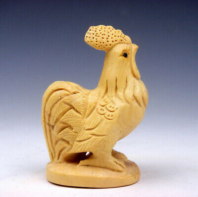 Boxwood Hand Carved Netsuke Sculpture Miniature Lovely Rooster Chicken #08301802