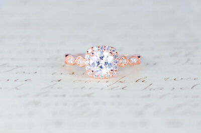 Elegant Woman Rose Gold Filled White Sapphire Rings Wedding Party Jewelry Size 9