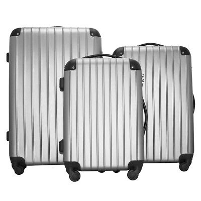 Set Of 3 Travel Bag ABS Trolley Spinner Suitcase With TSA Lock Silver Gray UP