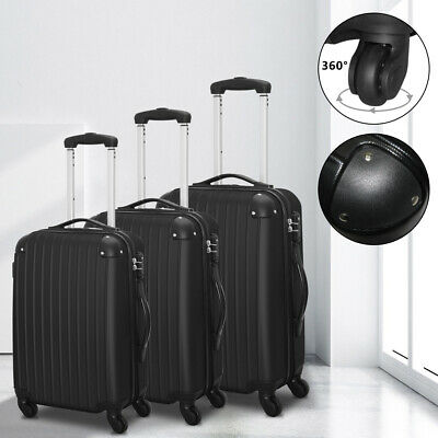 Set Of 3 Travel Luggage ABS Trolley Spinner Suitcase With TSA Lock Black MO