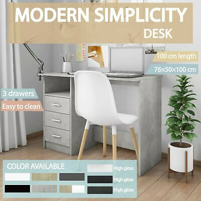 vidaXL Desk with Drawers Chipboard Writing Table Workstation Multi Colours