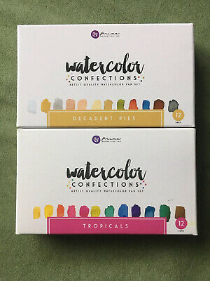 Prima Marketing Watercolor Confections Tropicals & Decadent Pies Used 2 Sets Lot