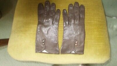 Brown Leather Milore Gloves Small Vgc. Lined With Silk