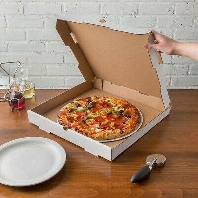 "Corrugated 16""x16"" x 1 3/4"" Pizza Bakery Boxes Plain White Durable 50/Bundle"