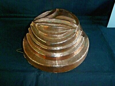 Antique Victorian Tiered Circular Copper Jelly Blancmange Aspic Pudding Mould