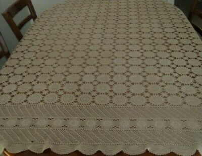 Vintage Crocheted Cotton Lace Tablecloth ~ Beige ~ Oblong