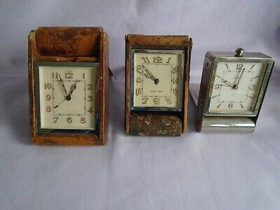 Vintage Lecoultre/Jaeger Travel/Alarm Clocks For Spares Or Repairs