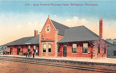 Washington postcard Bellingham Great Northern Passenger Depot train station RR
