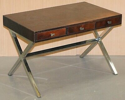 Brown Leather Crocodile Alligator Patina Desk With Chrome X Frame Supports