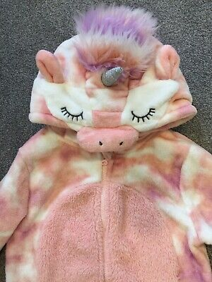 NEXT Girl Pink Unicorn All In One Fluffy Pyjamas Dressing Gown Age 8 Yrs Exc Con