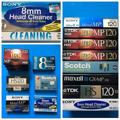 SONY 8 mm Video Head Cleaner + 7 New Tapes: Maxwell, Scotch, TDK + Sony Metal MP