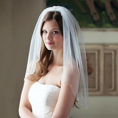 Bridal Wedding White Veil 1 Tier With Comb Handmade Beads And Pearls Edge