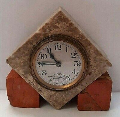 FRENCH 1920s/1930s Art Deco BAYARD Onyx Marble Bedside Mantle ALARM CLOCK